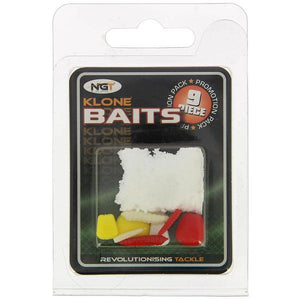 A sample pack of 9 NGT artificial baits