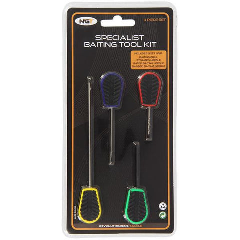 4pc Soft Grip Fluro Baiting Tool Set In Sleeve