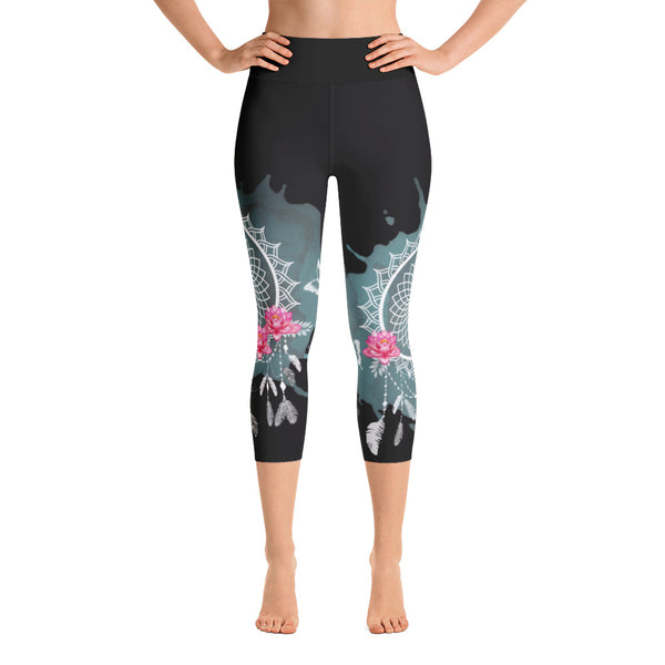 Rose Yoga Capri Leggings