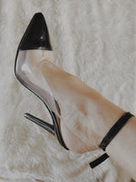 Nola Perspex and Black Patent Pointed Stiletto Court Shoes