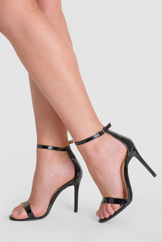 Abigail Two Strap Barely There Heels In Black Patent
