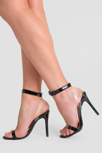 Mabel Barely There Two Strap Perspex Heel In Black Patent