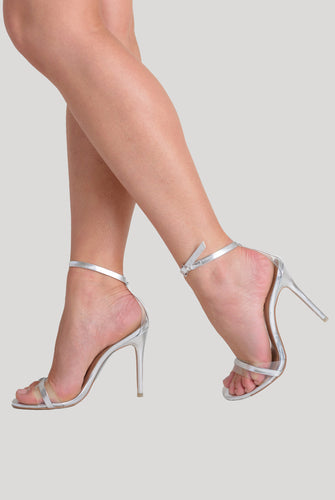 Isa Perspex Barley There Heel In Silver Patent