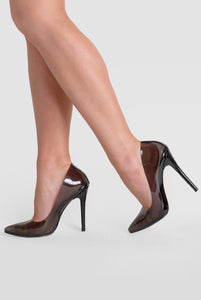 Kate Perspex Court Heel In Black Patent