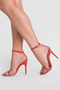 Isa Perspex Barley There Heel In Red Patent