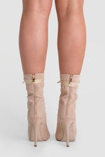 Celia Lace Up Ankle Boot In Nude Faux Suede
