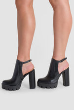 Elise Platform Biker Boot In Black Faux Leather