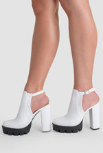Elise Platform Biker Boot In White Faux Leather