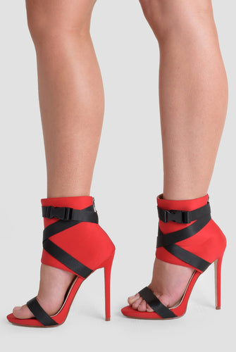 Olivia Buckle Stiletto Heels In Red Lycra