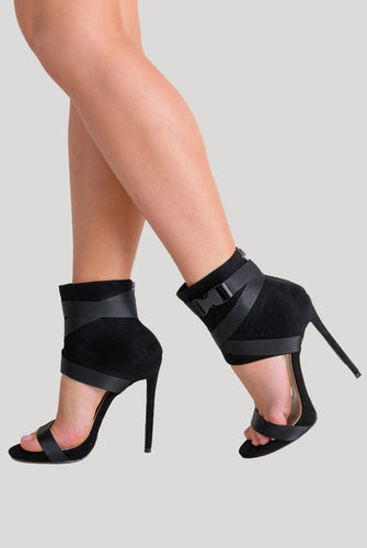 Olivia Buckle Stiletto Heels In Black Faux Suede