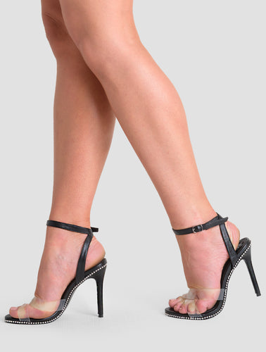 Athena Perspex Studded Barely There Heel In Black Faux Leather