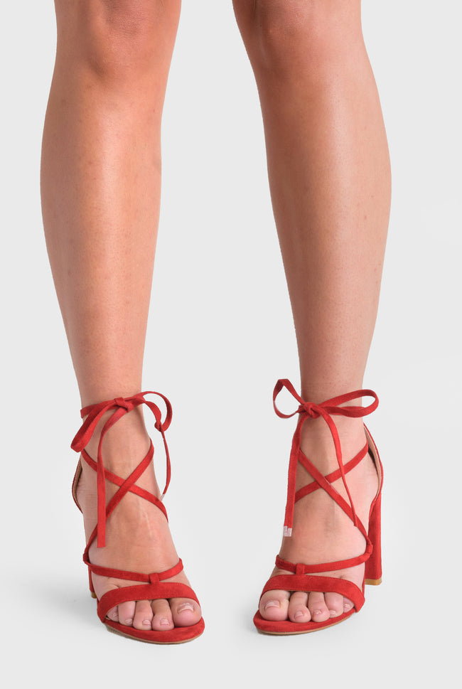 Layla Lace Up Block Heel In Red Faux Suede