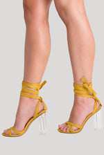 Cara Lace Up Perspex Heel In Mustard Faux Suede