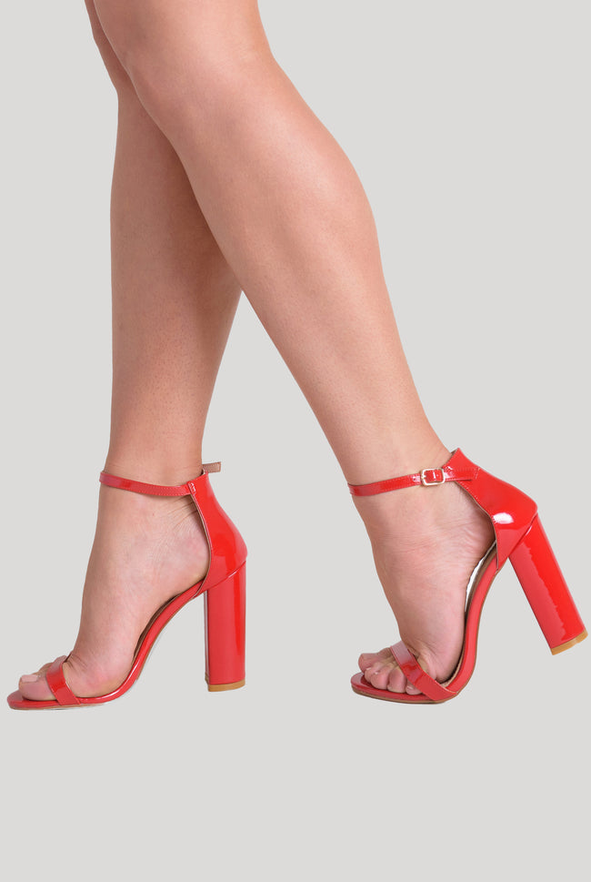 Isla Single Strap High Block Heel in Red Patent Faux Leather