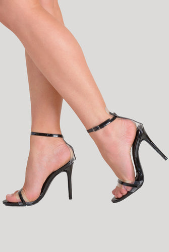Isa Perspex Barely There Heel In Black Patent