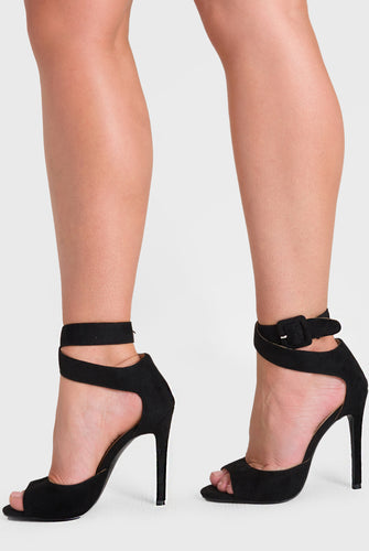 Darla Peep Toe Heel In Black Faux Suede