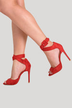 Darla Peep Toe Heel In Red Faux Suede