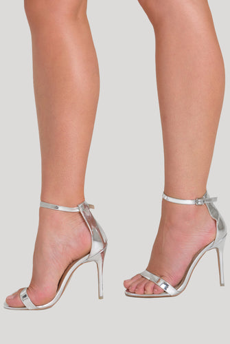 Abigail Two Strap Barely There Heels In Silver Patent