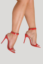 Mabel Perspex Two Strap Heels in Red Patent Faux Leather