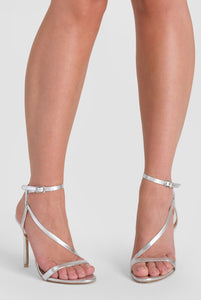 Aimee Barely There Added Strap Heel In Silver Patent