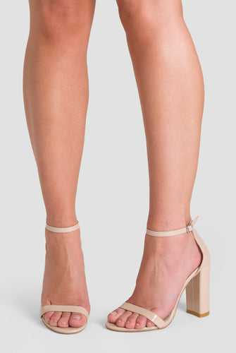 Isla Single Strap Block Heel in Nude Patent Faux Leather