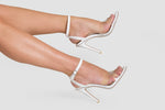Athena Perspex Studded Barely There Heel In White Faux Leather