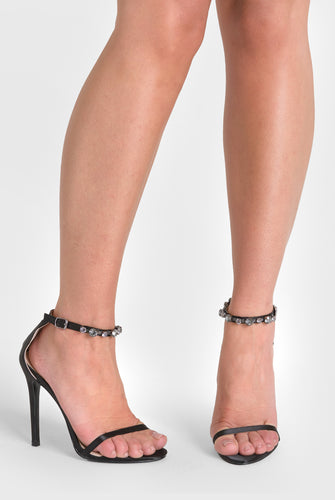Rose Barely There Heel diamond Strap Black Satin