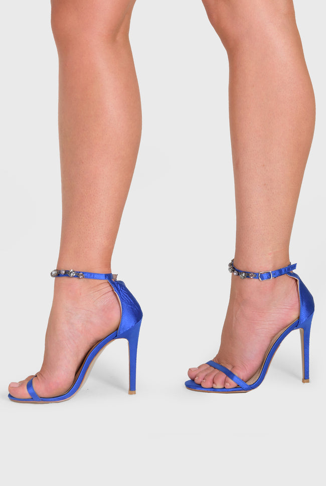 Rose Barely There Heel diamond Strap Blue Satin