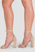 Layla Lace Up Block Heel In Nude Faux Suede