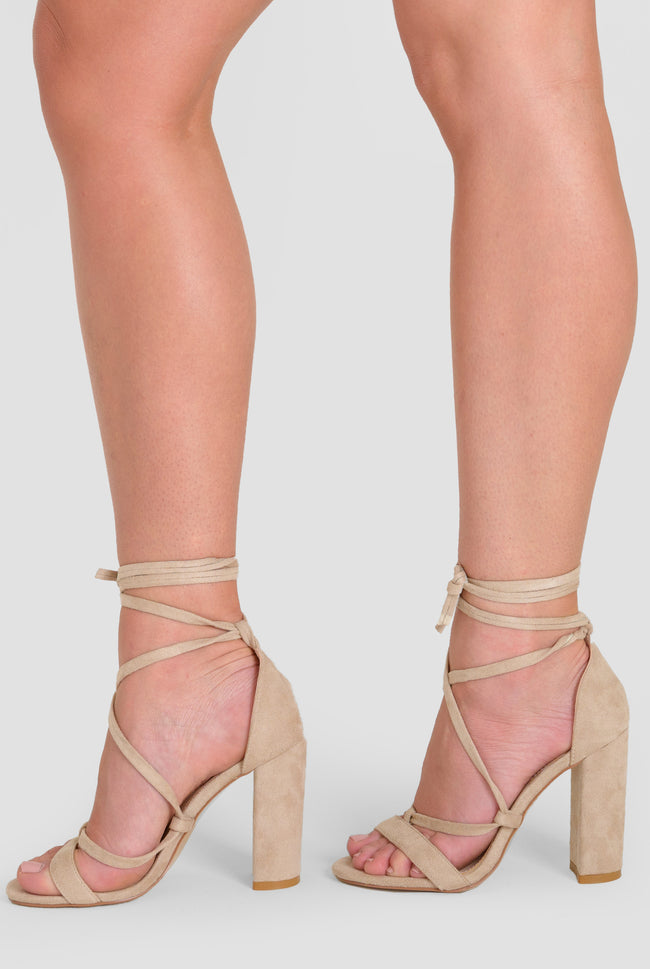 ffb9ae349fc1 Layla Lace Up Block Heel In Nude Faux Suede – Poised London