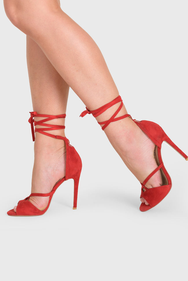 Fleur Lace Up Heel In Red Faux Suede
