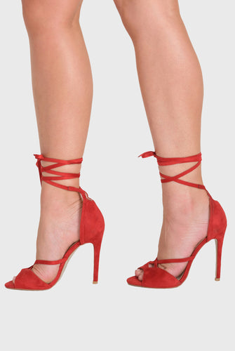 Fleur Lace Up Heel In Red suede