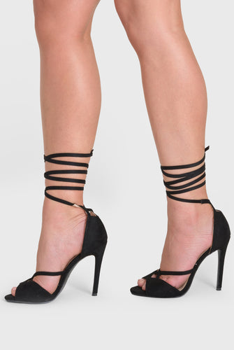 Fleur Lace Up Heel In Black Faux Suede
