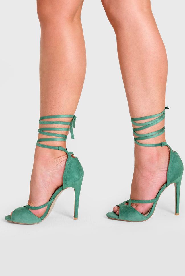 Fleur Lace Up Heel In Green Faux Suede