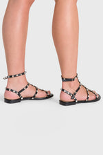 Harper Gold Studded Detail Gladiator Sandal In Black Faux Leather