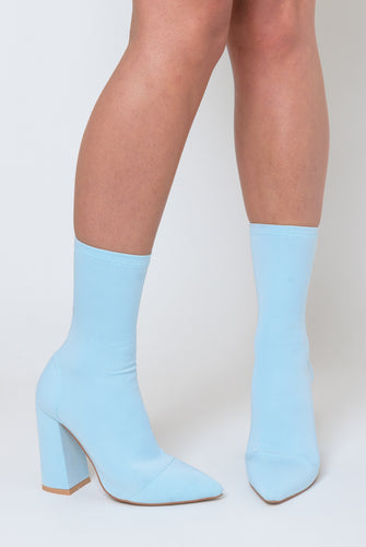 Esme Block Heel Sock Boot In Pastel Blue Lycra
