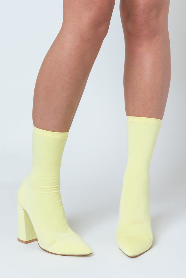 Esme Block Heel Sock Boot In Pastel Lemon Lycra