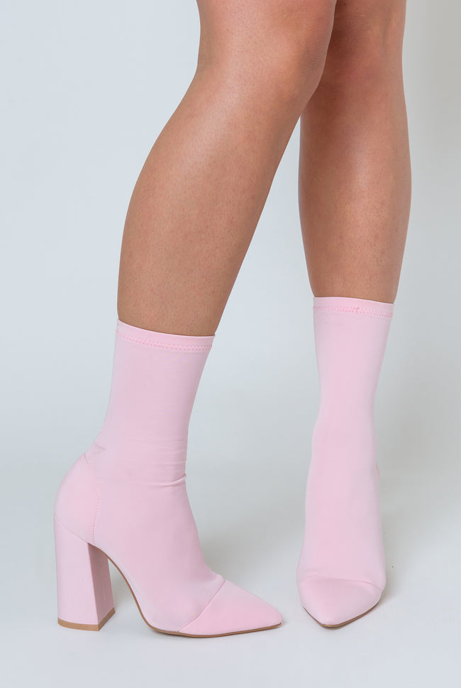Esme Block Heel Sock Boot In Pastel Pink Lycra