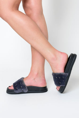 Keely Studded Detail Slider In Grey Faux Fur