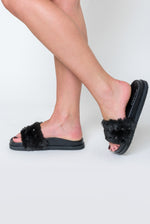 Keely Studded Detail Slider In Black Faux Fur