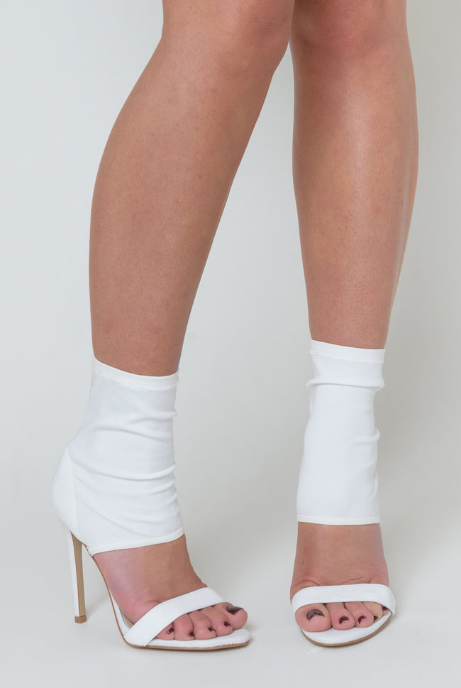 Frankie Pointed Cuff Heel In White Lycra