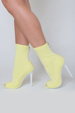Erin Peep Toe Lycra Sock Boot Heel in Pastel Lemon