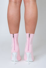 Erin Peep Toe Sock Boot In Pale Pink Lycra