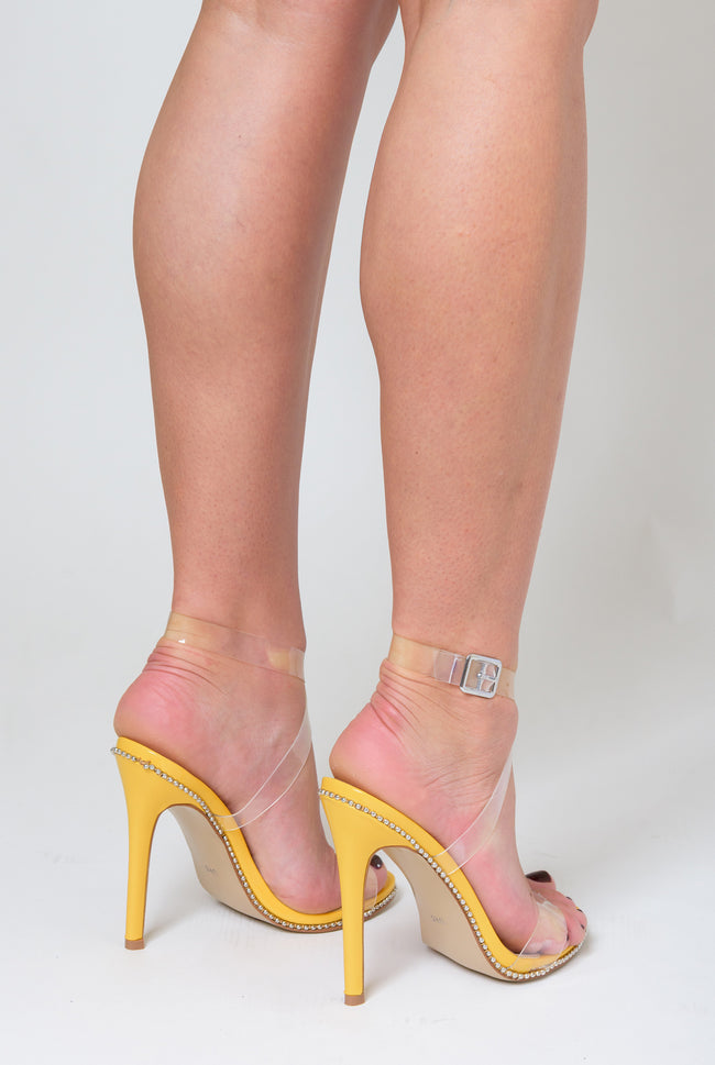 a9a7e43161 Tiffany Studded Perspex Heel In Yellow Patent – Poised London