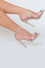 Tiffany Studded Perspex Heel In Nude Patent