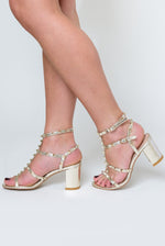 Bella Studded Detail Gladiator Mid Heel Sandal In Gold Faux Leather