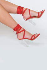 Cara Lace Up Perspex Heel In Red Faux Suede
