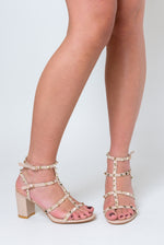 Bella Studded Detail Gladiator Mid Heel Sandal In Nude Faux Leather
