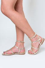 Harper Gold Studded Detail Gladiator Sandal In Gold Faux Leather