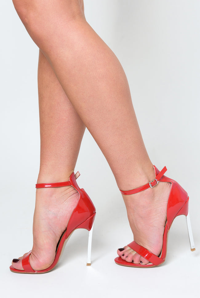 Harlow Barely There Metallic Heel In Red Patent